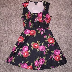 Flower printed fit and flare dress